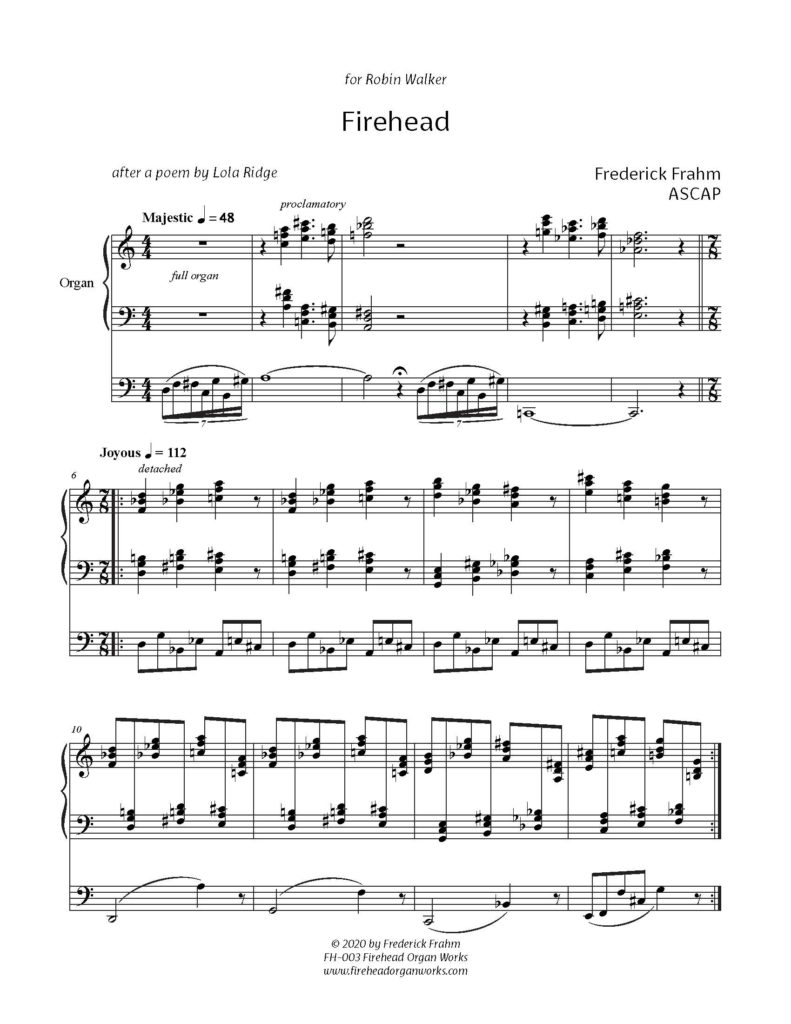 Frahm Firehead first page